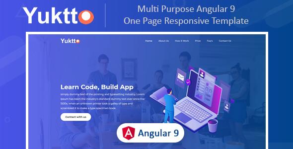 , Yuktto | Multi Purpose Angular 9 Responsive Template, Laravel & VueJs, Laravel & VueJs