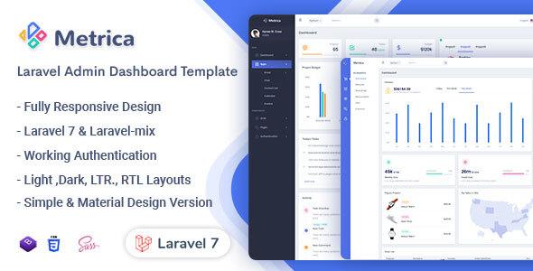 , Metrica – Laravel Admin & Dashboard Template, Laravel & VueJs, Laravel & VueJs