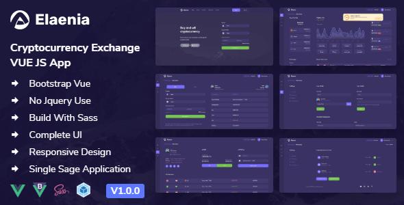 , Elaenia – Cryptocurrency Exchange Dashboard VUE JS App + Landing page, Laravel & VueJs, Laravel & VueJs