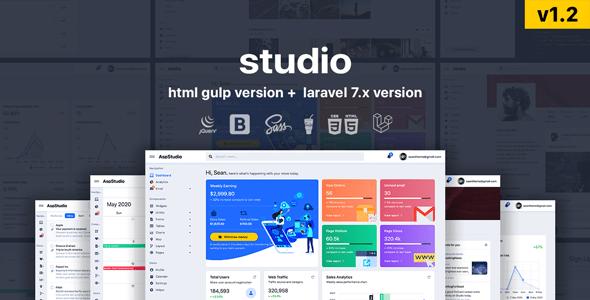 , Studio – HTML & Laravel Bootstrap 4 Admin Template, Laravel & VueJs, Laravel & VueJs