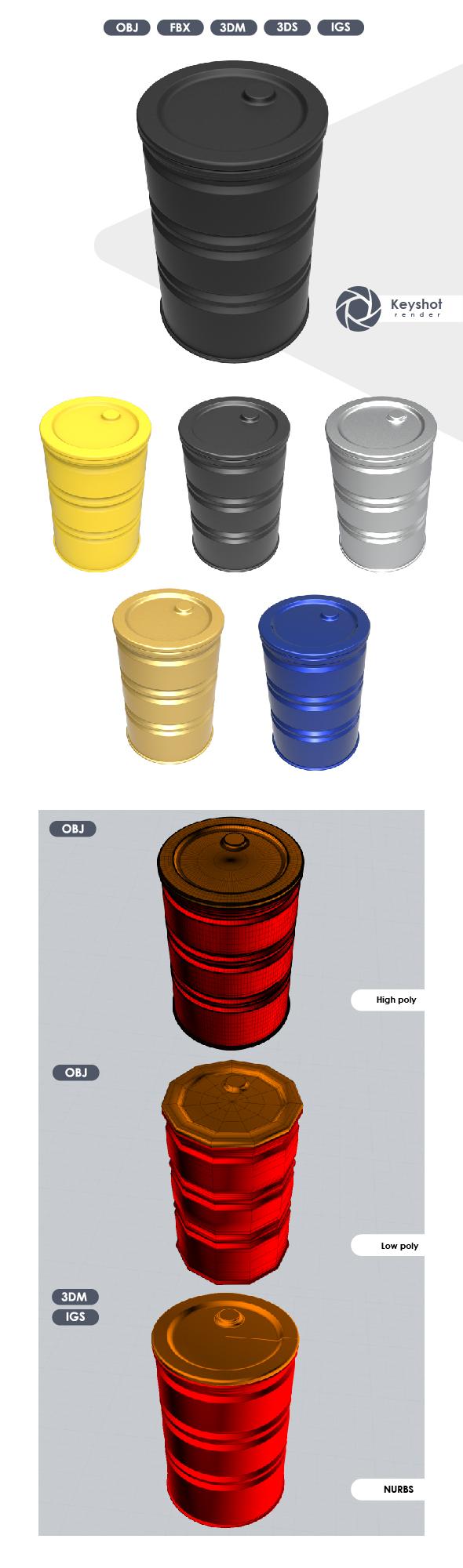 3D Model of a Metal Barrel.