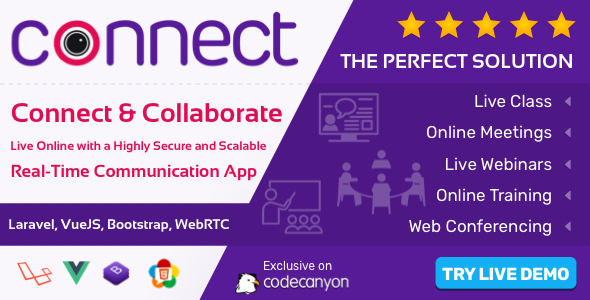 , Connect – Live Class, Meeting, Webinar, Online Training & Web Conference, Laravel & VueJs