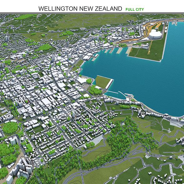Wellington City New Zealand 3D Model 50km