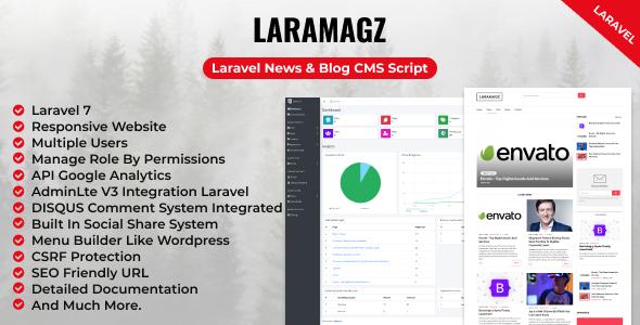 , Laramagz – Laravel News & Blog CMS Script, Laravel & VueJs