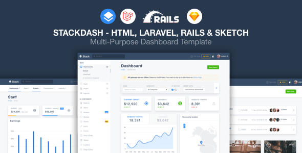 , StackDash –  HTML, Laravel & Rails Dashboard Template, Laravel & VueJs