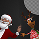 Christmas Background - Funny Santa And Reindeer (2-Pack)