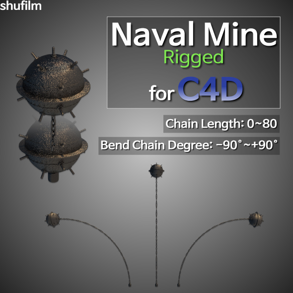 Naval Mine Rigged for C4D