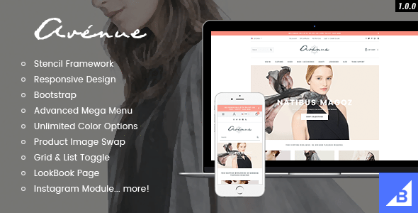 avenue flat responsive fashion bigcommerce theme stencil google amp ready preview. large preview