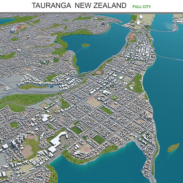 Tauranga city New Zealand 3d model 40km