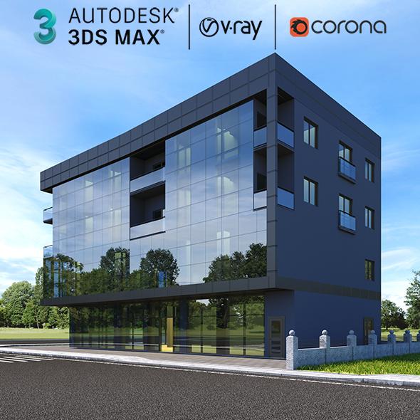 Modern Residential Building Exterior 3d Scene