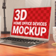 3D Home Office Devices Mockup - Laptop, Smartphone and Picture Frame