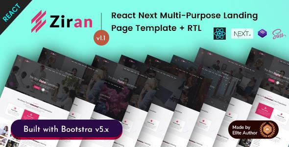 , Ziran – React Next Multipurpose Portfolio Landing, Laravel & ReactJs