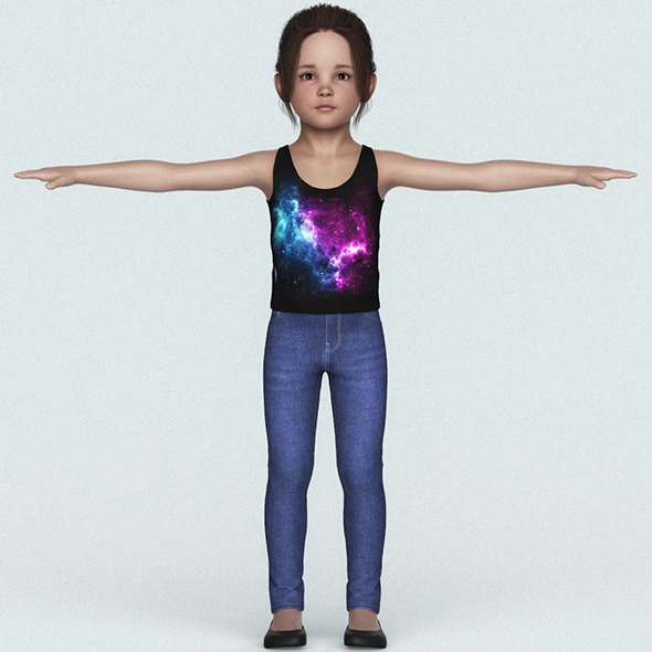 Cute Child Girl 3D Character