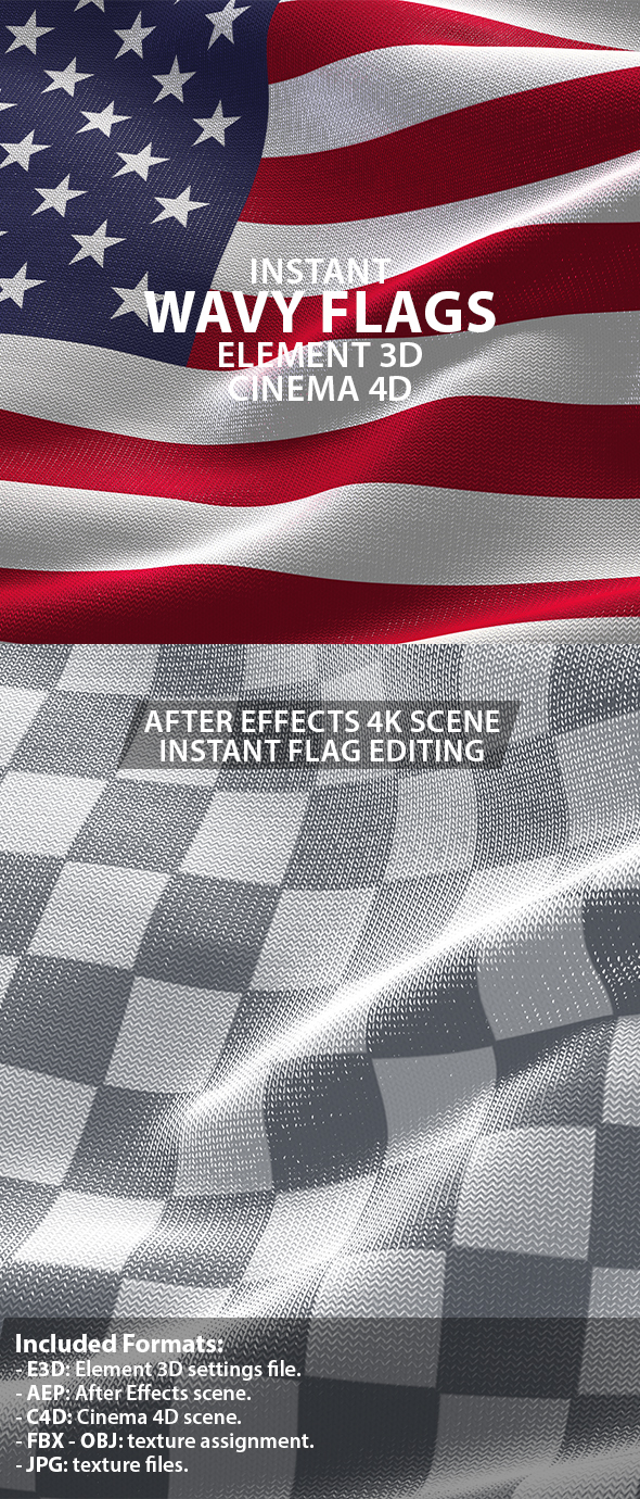 Waving Flag 3D Scenes for Element 3D & Cinema 4D