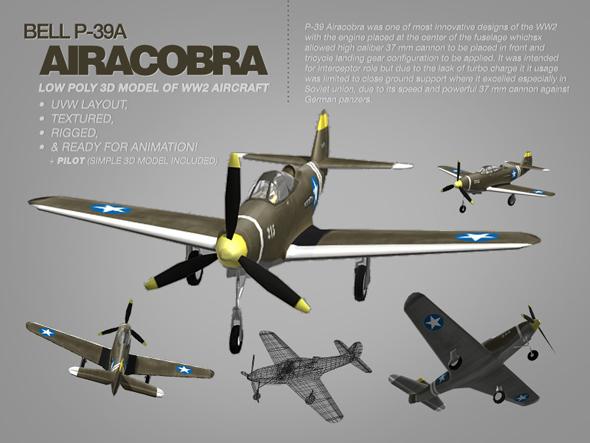 Bell P-39A Airacobra 3d model of WW2 aircraft