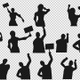 Protesting People Silhouette (17-Pack)