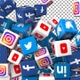 Social Media Icons Transition - Facebook, Twitter, Youtube, Instagram and Linkedin