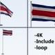 Costa Rica  Flag Pack 4k-Loop