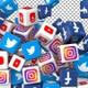 Social Media Icons Transition - Facebook, Twitter, Youtube, Instagram
