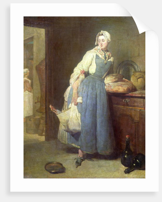 kitchen maid outdoor bbq the with provisions posters prints by jean baptiste simeon chardin