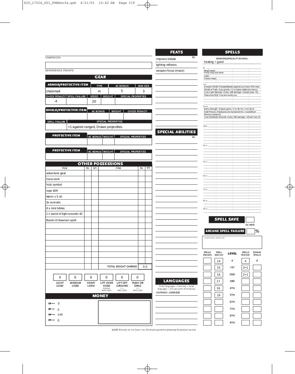Interactive D&D 3.5 Character Sheet (will cleric.pdf