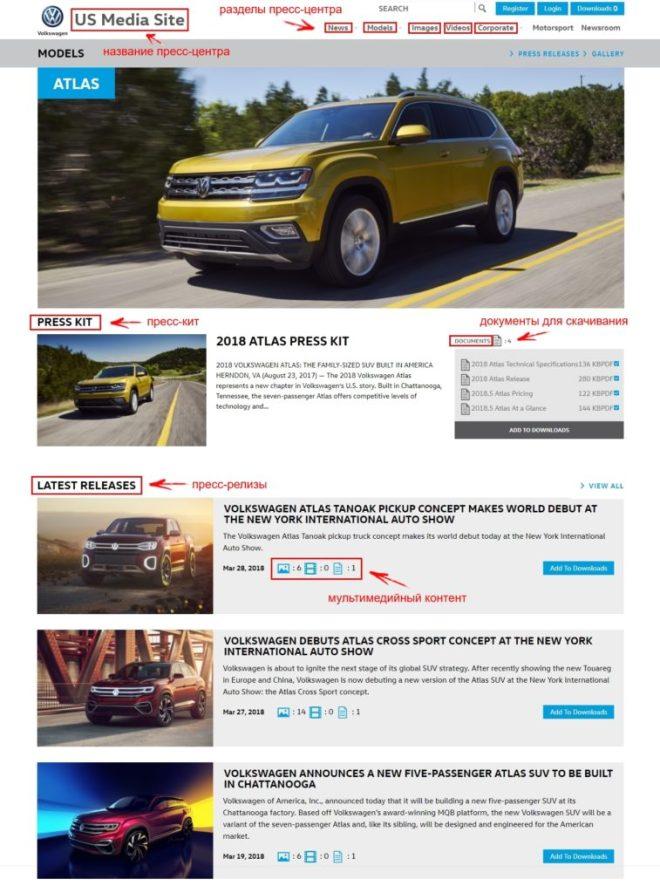 Пресс-центр Volkswagen: раздел