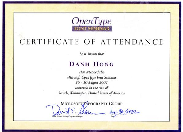 Certificates of Danh Hong