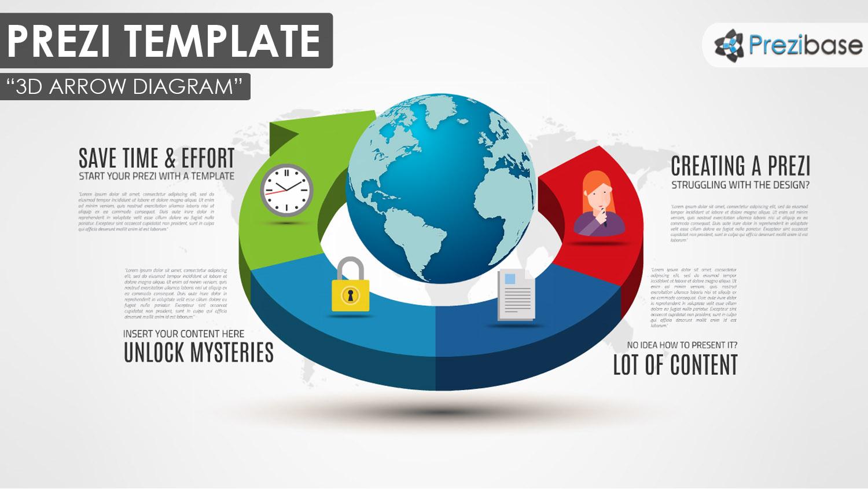 hight resolution of 3d arrow circle diagram planet world business prezi template
