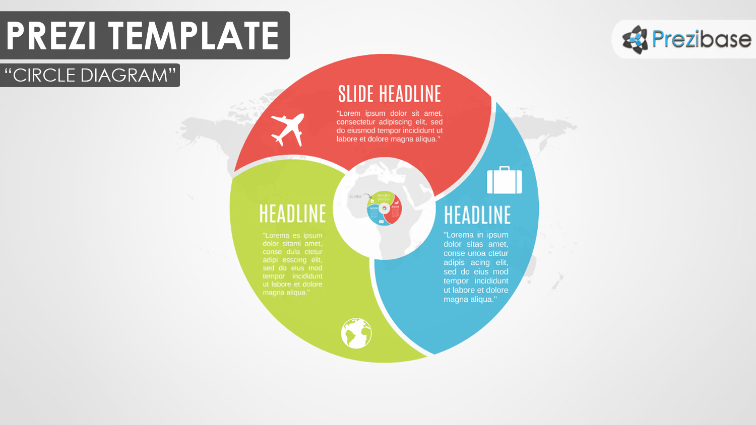 hight resolution of 3d circle zooming diagram red blue green prezi template map