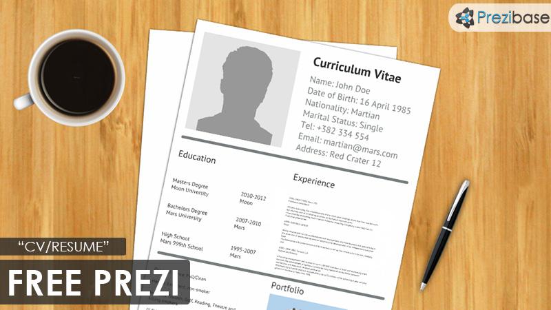 CV Resume Prezi Template Prezibase