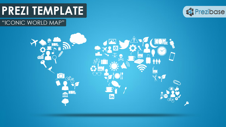Iconic World Map Prezi Template Prezibase