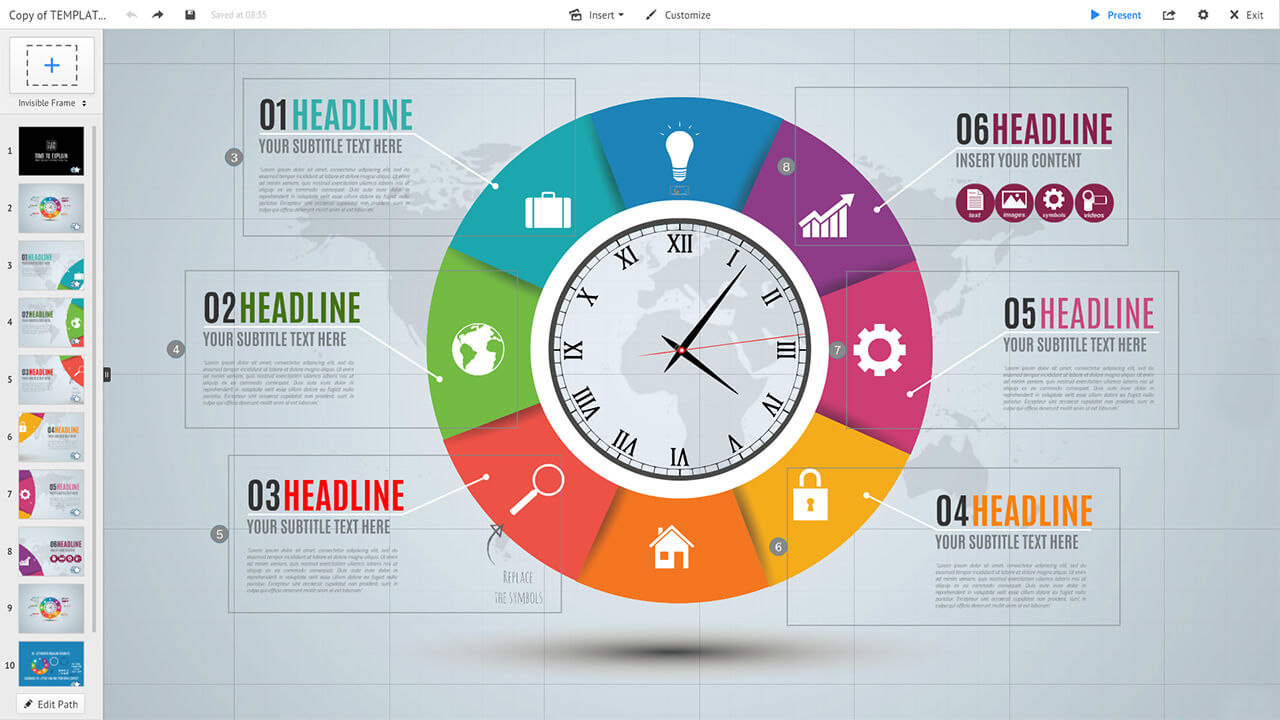 hight resolution of colorful circle clock infographic diagram prezi presentation template