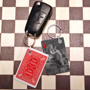 QUEEN OF HEARTS PHOTO KEY FOB BLACK & WHITE