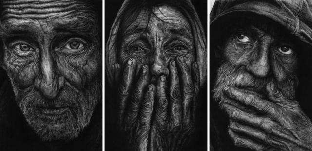 homeless drawings by B J Hoertz BJH Creations Studio H