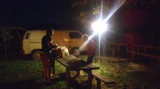late night barbeque - with electric lightning from the neighbouring property