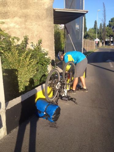 leaving Podgorica - with a puncture 1st thing!