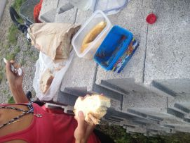 snack break before fighting a mountain
