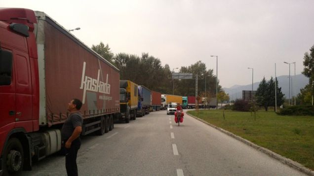 Nastya passing the trucks at the border