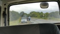 police fining our driver for doing 70 in a 40 stretch