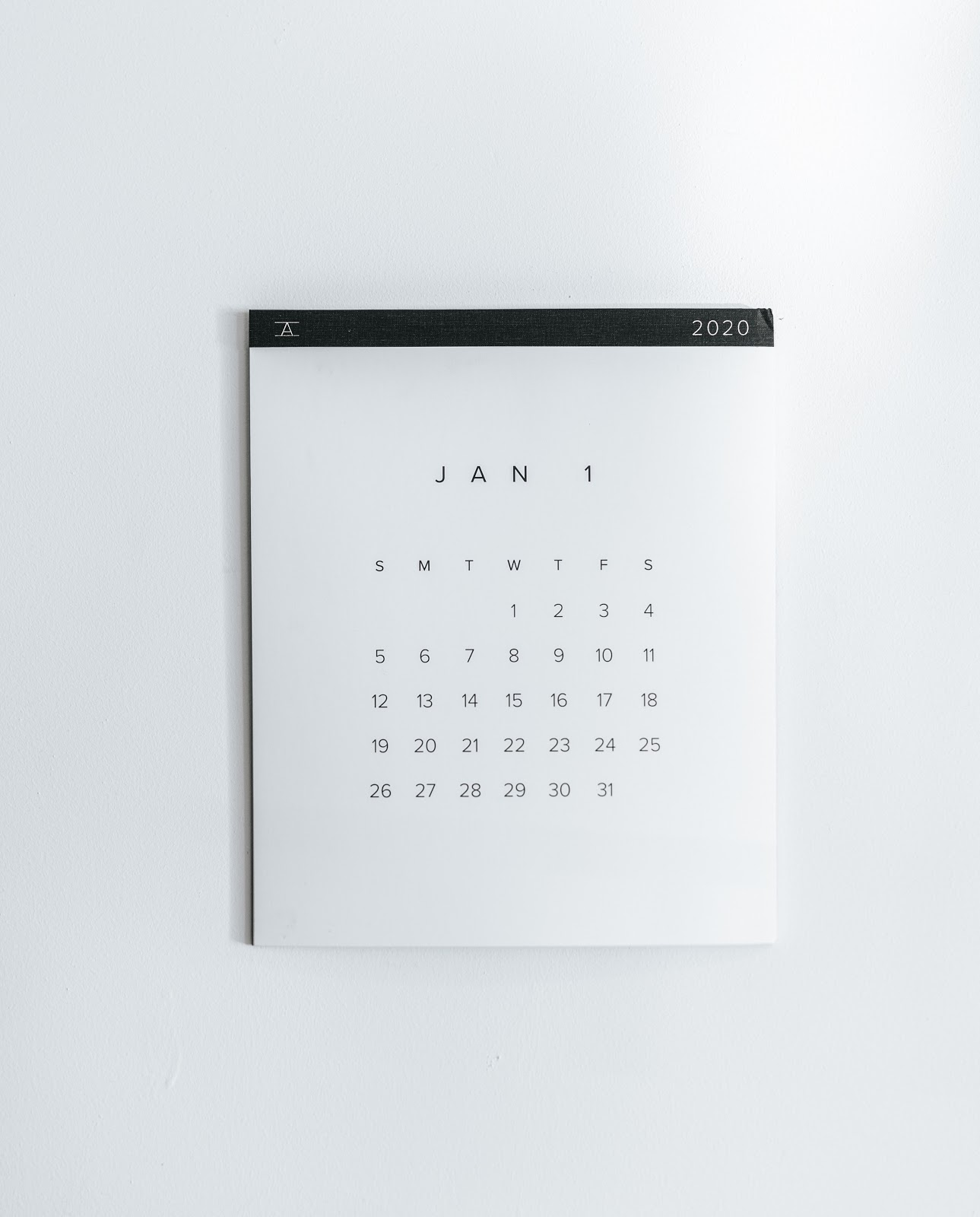 A simple wall calendar with January 2020 showing.