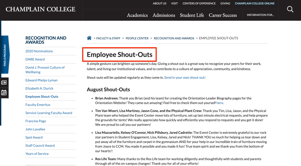 Champlain College Employee Shout Outs
