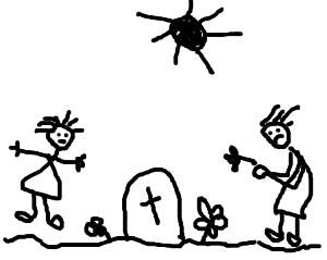 """Rozhovor na hřbitově, technika """"myš a cvakání"""", autor - Neznámý"""