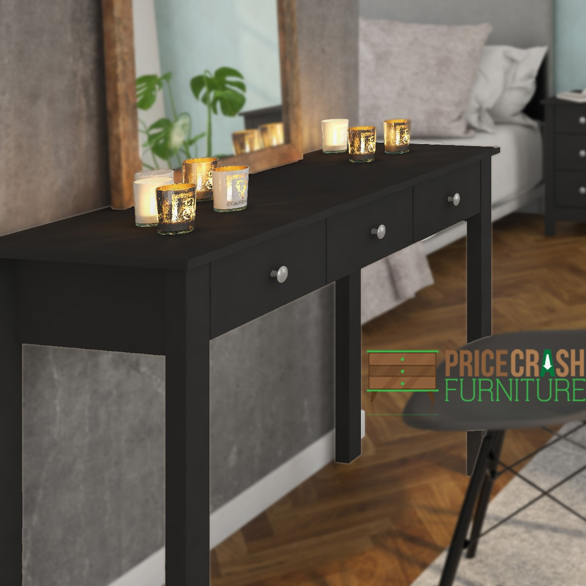 florence shaker style hallway console table desk with 3 drawers in black
