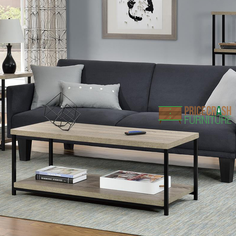 elmwood coffee table in distressed grey oak by dorel