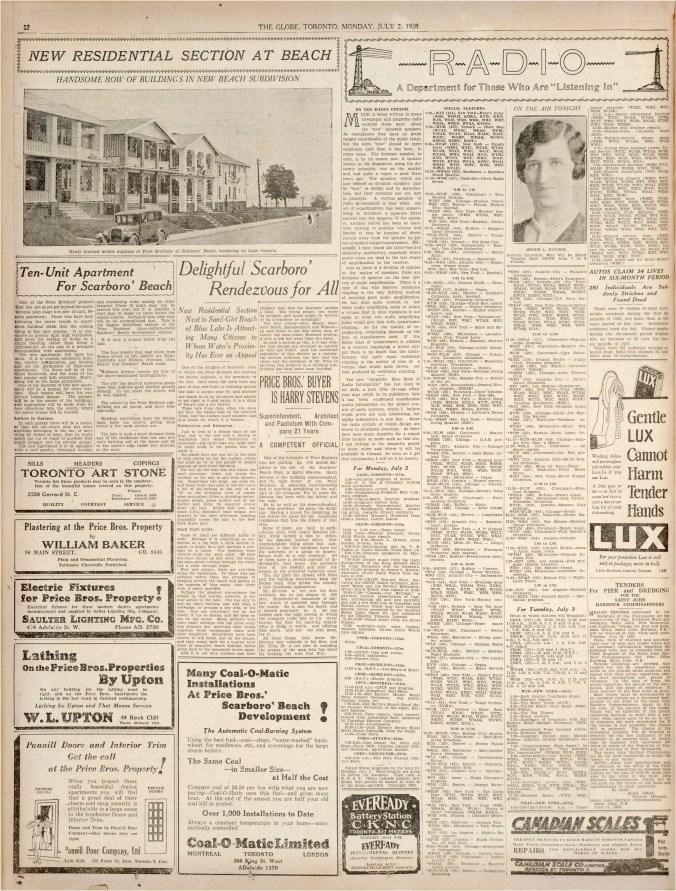 Toronto Globe, July 2, 1928, page 12