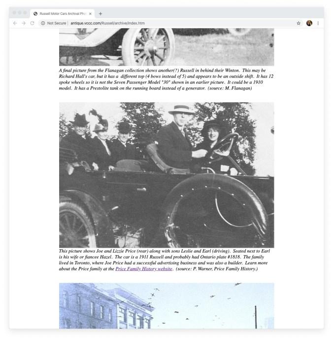 Screenshot of Joe Prices Russell motor car on vintage car website