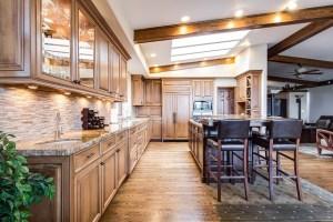 A kitchen with quartz countertops.