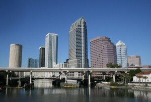 Tampa, skyline, showing the beauty of one of the best Florida towns for buying a second home.