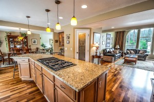 A kitchen with hardwood flooring, one of the timeless kitchen design trends.