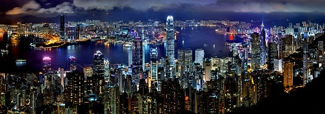 A view of Hong Kong at night.